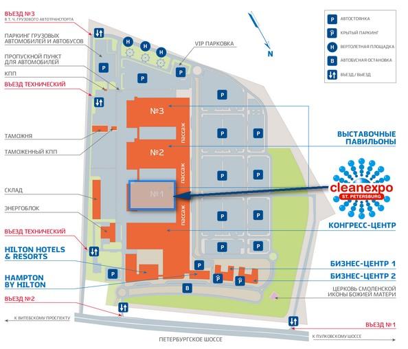 схема размещения павильона 1 Экспофорум. CleanExpo Санкт-Петербург